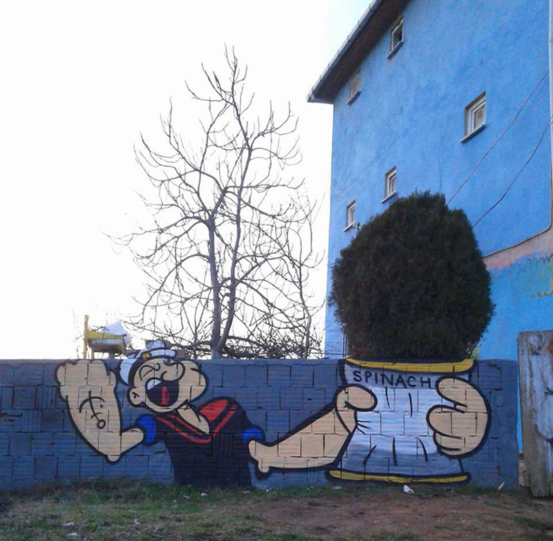 popeye street art spinach tree by semi ok istanbul 2 Picture of the Day: Popeye Spinach Tree