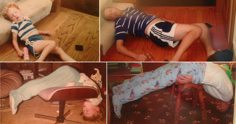 These Siblings Recreated Funny Photos of Them Passed Out as Kids and It's Hilarious