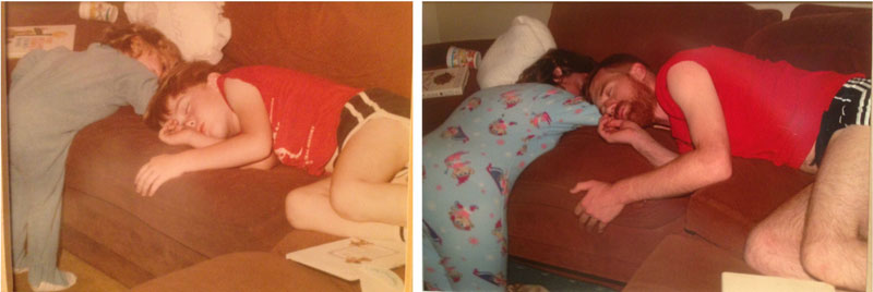 siblings recreate photos of them passed out as kids 9 These Siblings Recreated Funny Photos of Them Passed Out as Kids and Its Hilarious