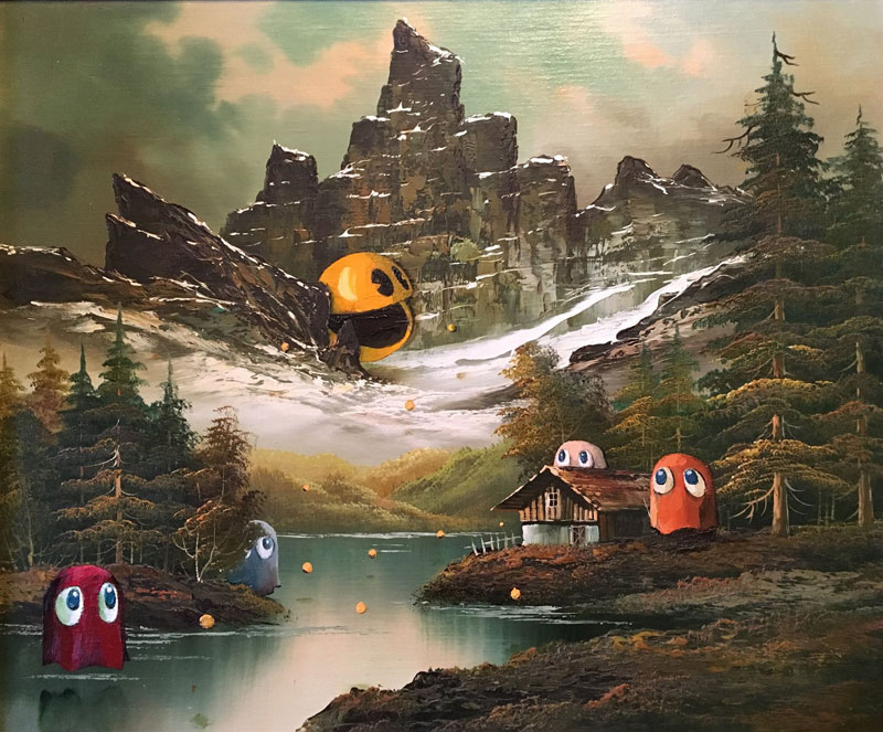 dave pollot paints characters from games movies and shows into discarded paintings 13 Dave Pollot Paints Your Favorite Characters Into Discarded Paintings