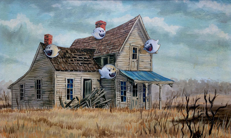 dave pollot paints characters from games movies and shows into discarded paintings 16 Dave Pollot Paints Your Favorite Characters Into Discarded Paintings