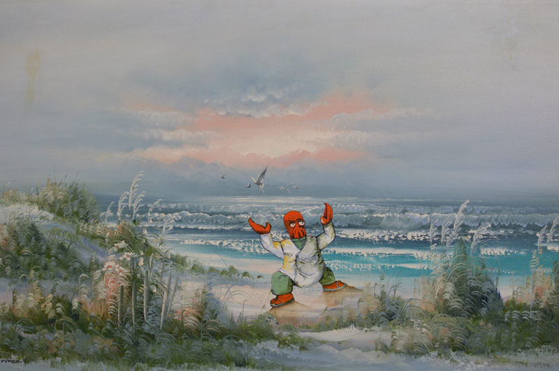 dave pollot paints characters from games movies and shows into discarded paintings 18 Dave Pollot Paints Your Favorite Characters Into Discarded Paintings