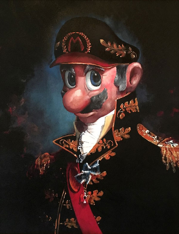 dave pollot paints characters from games movies and shows into discarded paintings 19 Dave Pollot Paints Your Favorite Characters Into Discarded Paintings