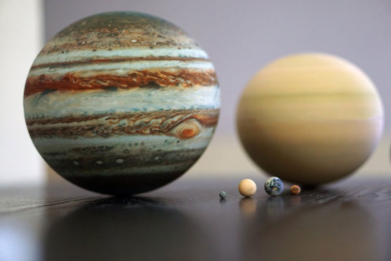 3d printed scale model solar system by little planet factory 11 3D Printed, Scale Model of the Solar System Fits in the Palm of Your Hand