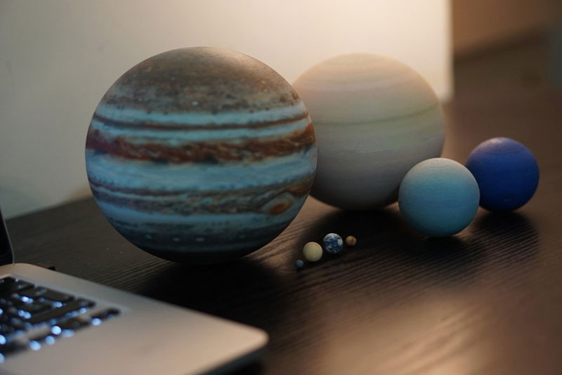 3d printed scale model solar system by little planet factory 12 3D Printed, Scale Model of the Solar System Fits in the Palm of Your Hand