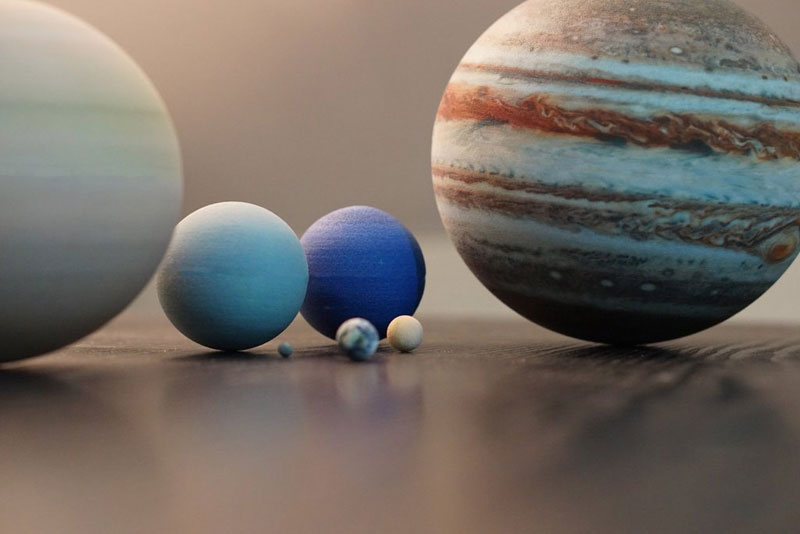3d printed scale model solar system by little planet factory 6 3D Printed, Scale Model of the Solar System Fits in the Palm of Your Hand