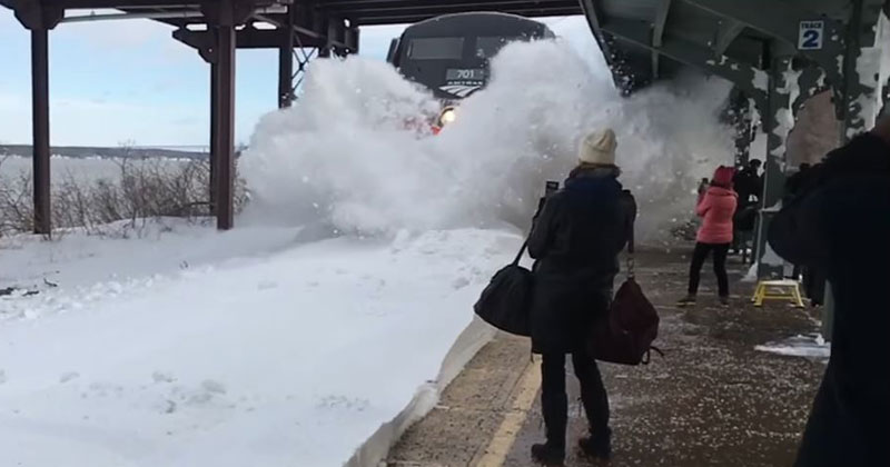 Crazy Footage of an Amtrak Train Colliding with a Track Full of Snow