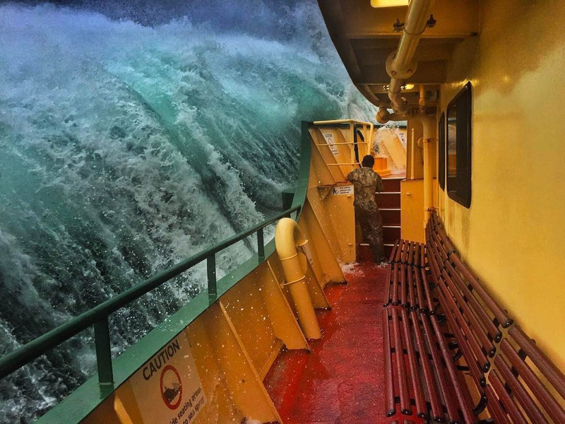 Picture of the Day: Crashing Waves Over Sydney Harbour Ferry Railings