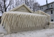 Crashing Waves, Strong Winds and Freezing Temps Encase Home in Ice