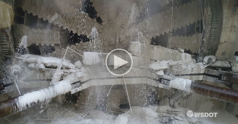 Drone Captures World's Largest Tunneling Machine Breaking Through After 4 Years Underground