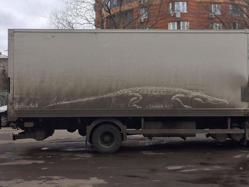 dirty car art by nikita golubev 1 Nikita Golubev Turns Dirty Cars Into Works of Art