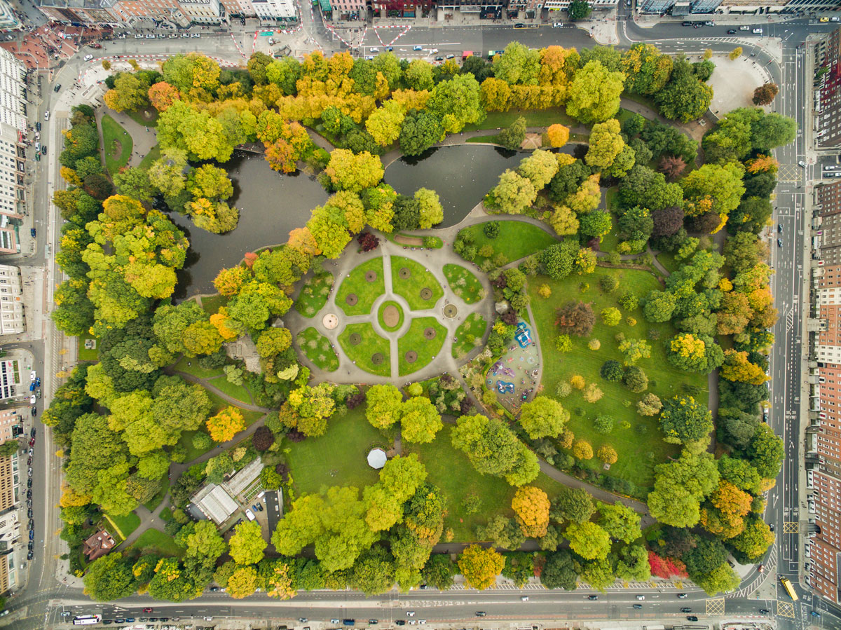dublin stephens green from above aerial Picture of the Day: St Stephens Green, Dublin from Above