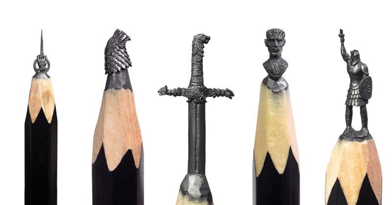 game of thrones carved into tip of pencil by salavat fidai 11 Amazing Artist Carves Game of Thrones Themed Sculptures Onto the Tips of Pencils
