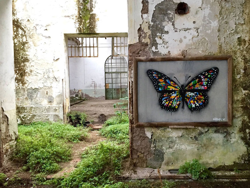 martin whatson street art 4 Artist Incorporates Grayscale Characters Into His Colorful Murals