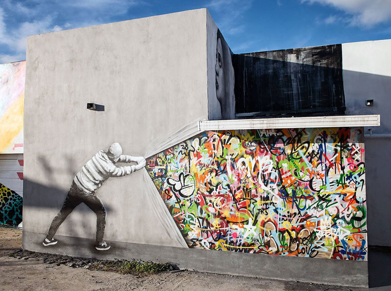 martin whatson street art 5 Artist Incorporates Grayscale Characters Into His Colorful Murals
