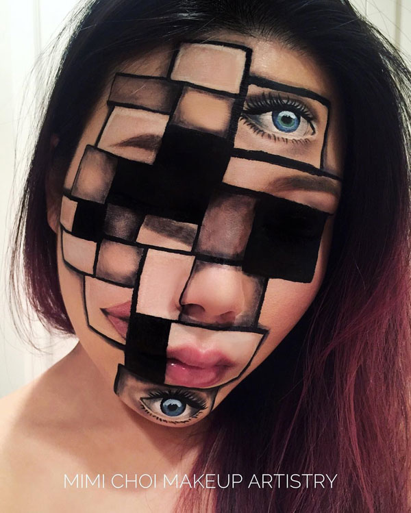 mimi choi mkeup artistry 4 This Makeup Artist Can Transform Her Face Into a Glitch in the Matrix