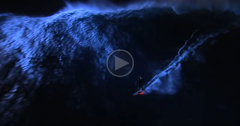 Surfing Jaws at Night Looks as Crazy as it Sounds