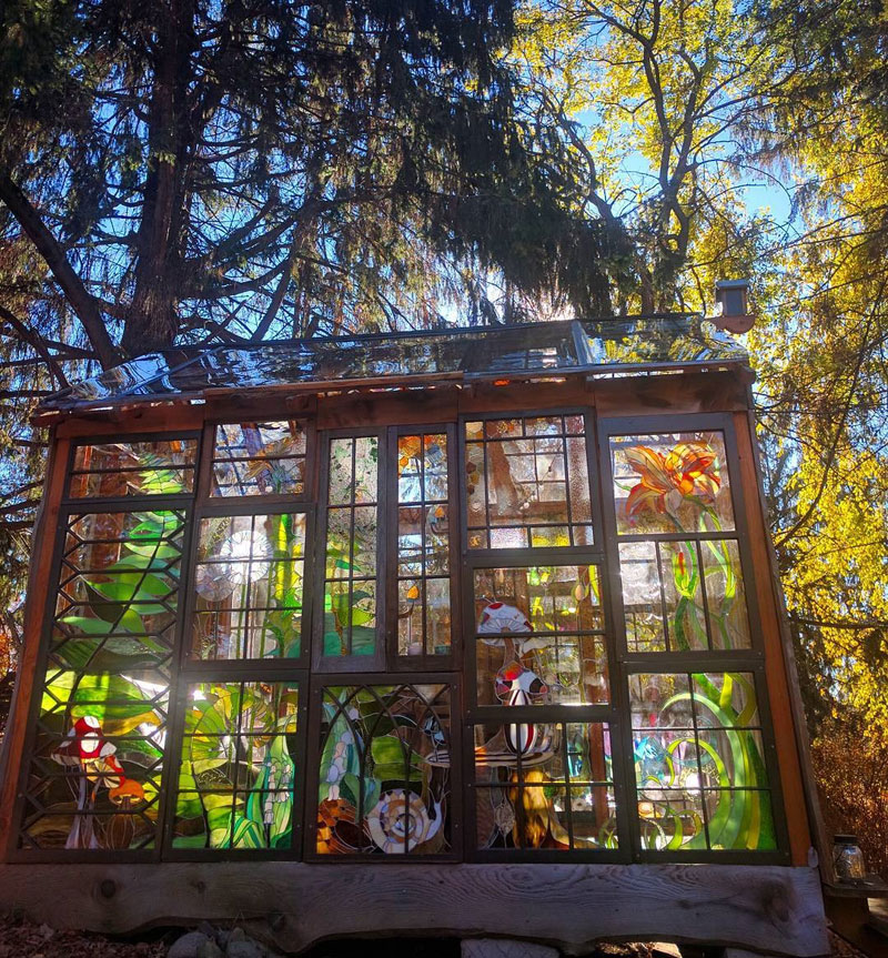 stained glass cabin by neile cooper 11 A Stained Glass Cabin in the Woods