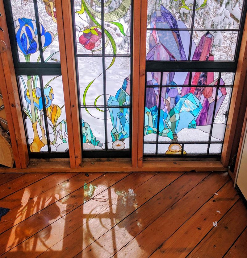 stained glass cabin by neile cooper 4 A Stained Glass Cabin in the Woods