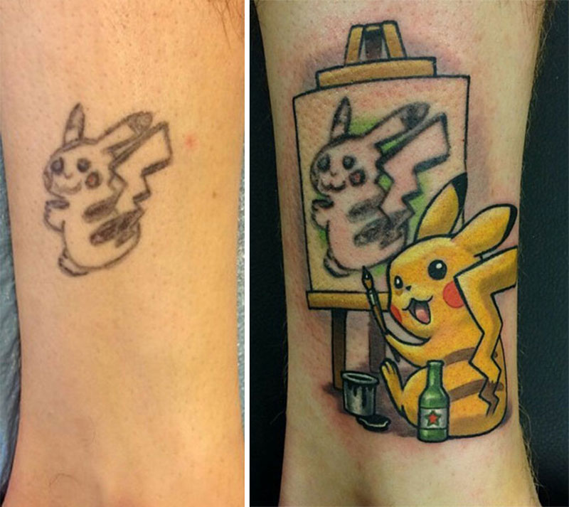 bad pikachu tattoo cover up 3 Best Tattoo Cover Up Ever