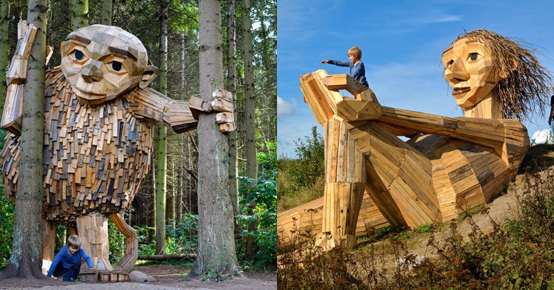 Artist Builds Forest Giants from Salvaged Materials and Hides Them in the Woods for People to Find