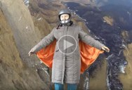 Awesome Grandma Pretends to Wingsuit Fly Using Green Screen, Paper Clips and Bed Sheet