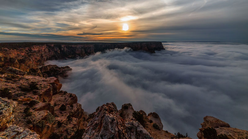 kaibab elegy skyglowproject harun mehmedinovic 41 There was a Full Cloud Inversion at the Grand Canyon and this Guy Got an Unreal Timelapse of It