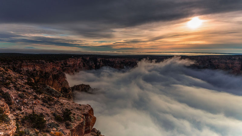 kaibab elegy skyglowproject harun mehmedinovic 7 There was a Full Cloud Inversion at the Grand Canyon and this Guy Got an Unreal Timelapse of It