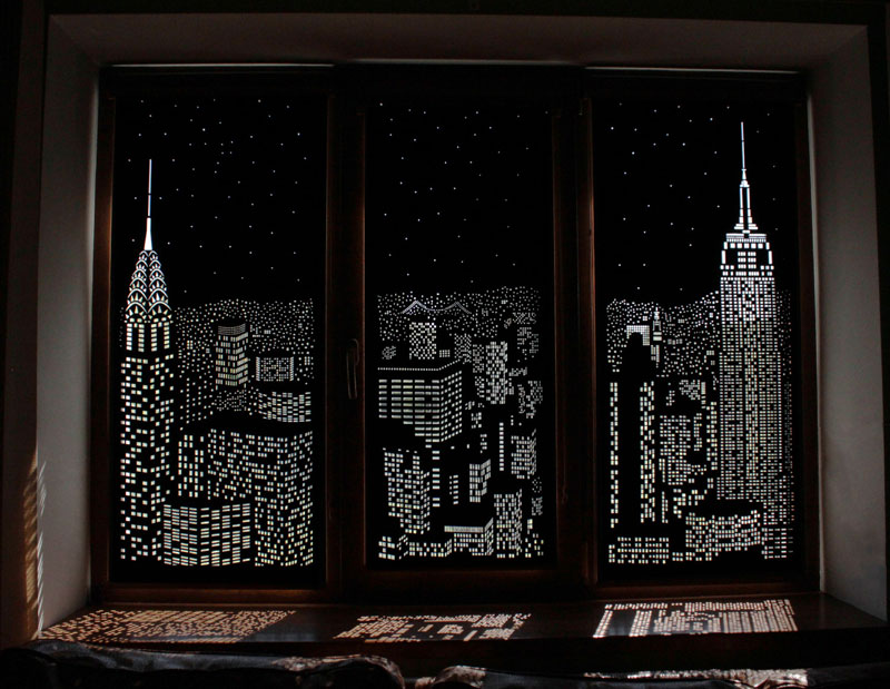 intricately cut blinds show iconic cityscapes at night by holeroll 1 These Intricately Cut Blinds Show Iconic Cityscapes at Night
