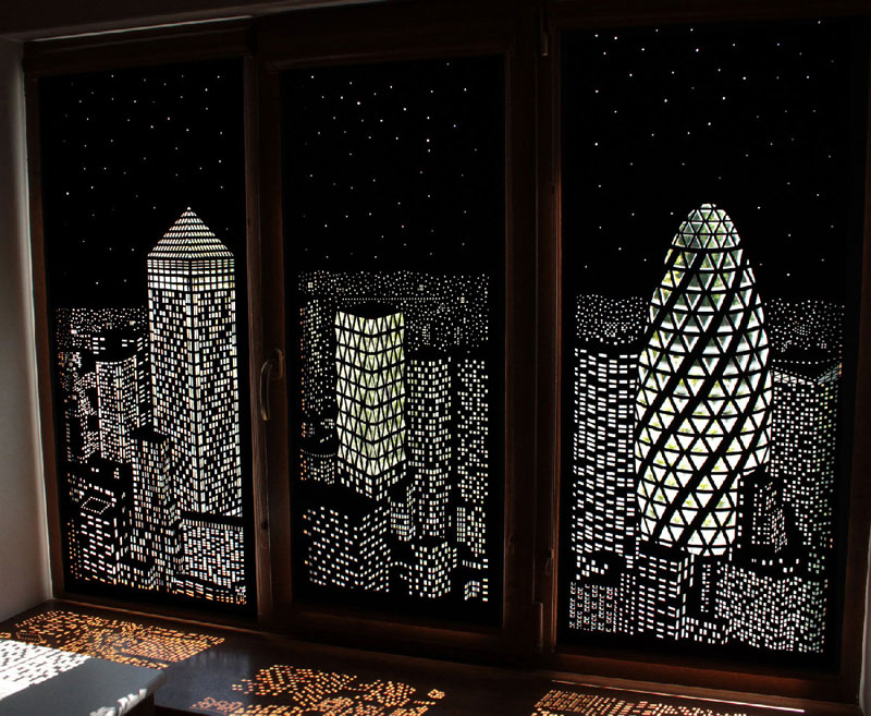 intricately cut blinds show iconic cityscapes at night by holeroll 5 These Intricately Cut Blinds Show Iconic Cityscapes at Night
