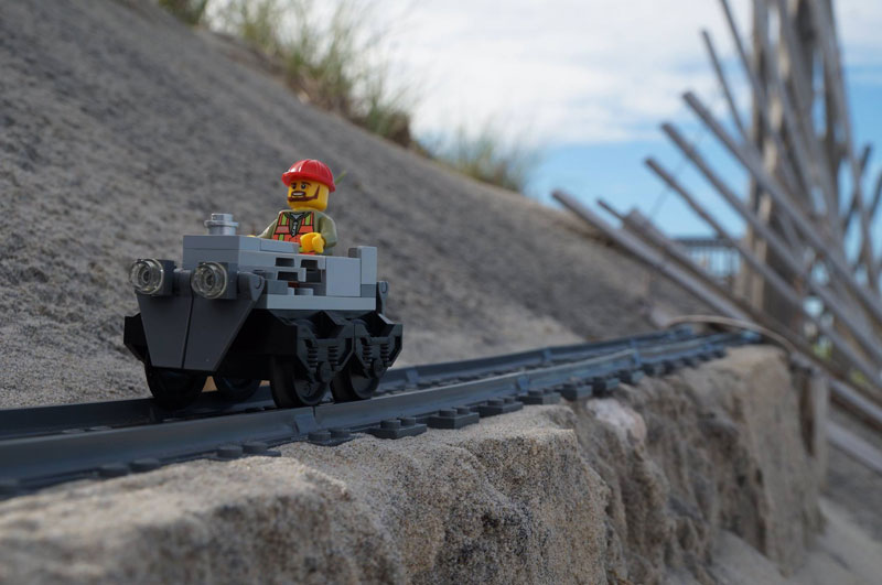 lego sand roller coaster by 5 mad movie makers 10 This Lego Sand Roller Coaster on the Beach is Awesome