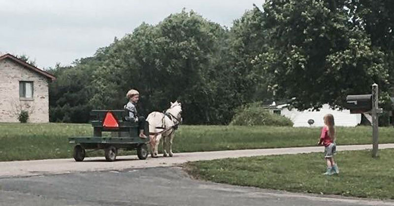 amish boy and girl reddit photo cover1 This Guys Cousin Made Friends With a Little Amish Boy. This is Him Stopping By to Say Hi