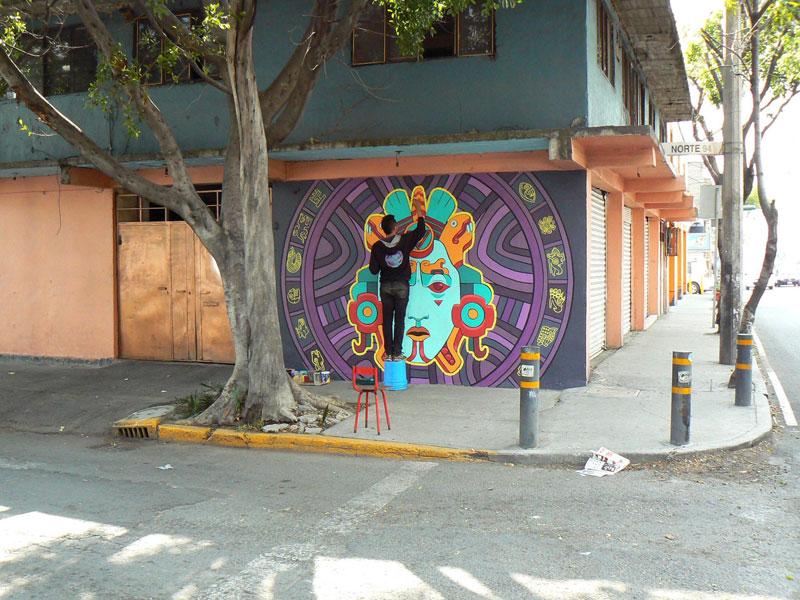 aztec inspired street art mural by rilke guillen 10 Amazing Aztec Inspired Street Art Mural by Rilke Guillen