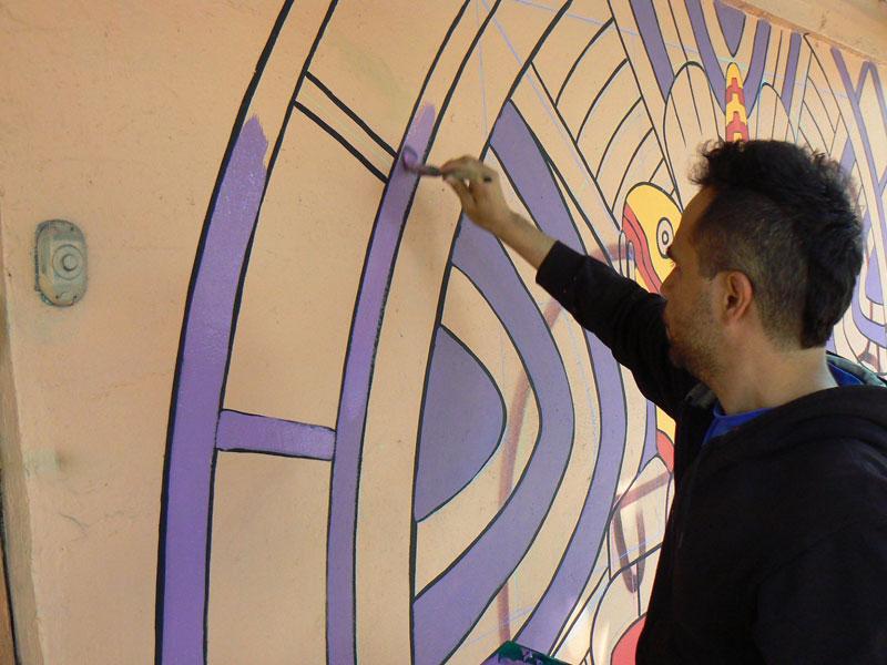 aztec inspired street art mural by rilke guillen 3 Amazing Aztec Inspired Street Art Mural by Rilke Guillen