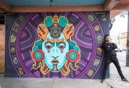 Amazing Aztec-Inspired Street Art Mural by Rilke Guillen
