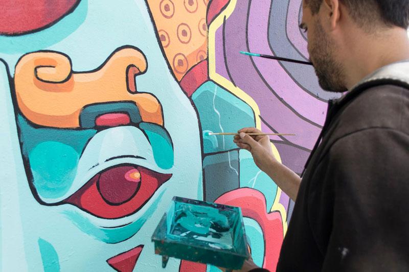 aztec inspired street art mural by rilke guillen 8 Amazing Aztec Inspired Street Art Mural by Rilke Guillen