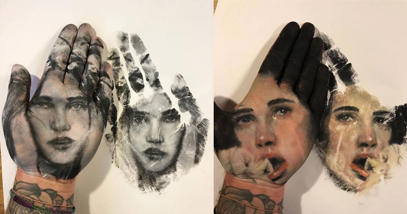 Painter Uses Hand as Stamp in Creative Series of 'Handprints'