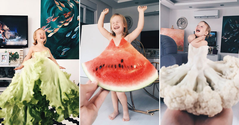 Mom and Daughter Make Dresses with Flowers, Food and Forced Perspective