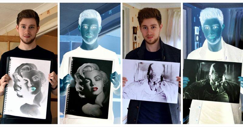 Trippy Negative Pencil Drawings by Liam York