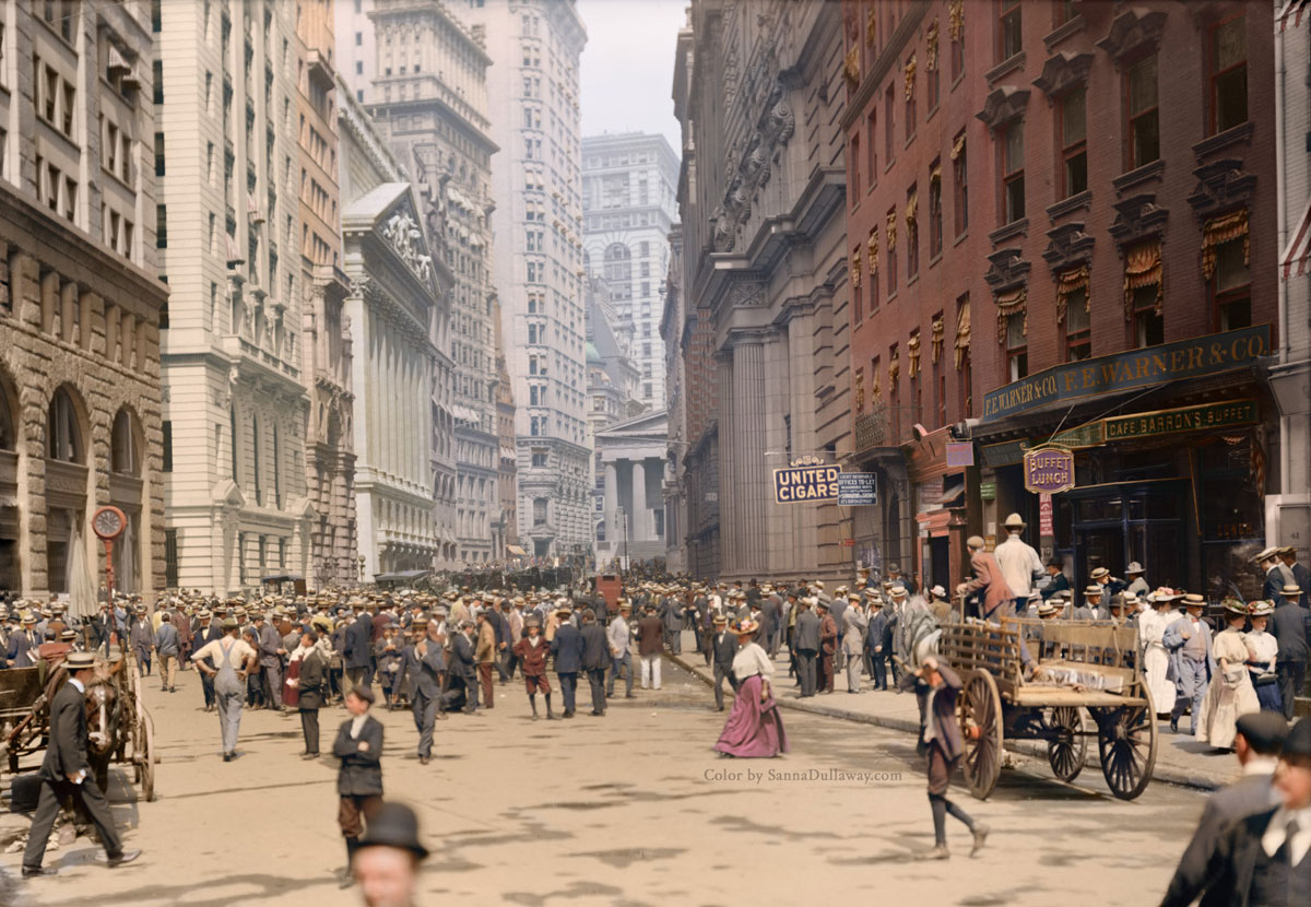 new york city 1900s colorized by sanna dullaway Picture of the Day: New York City, 1900s Colorized