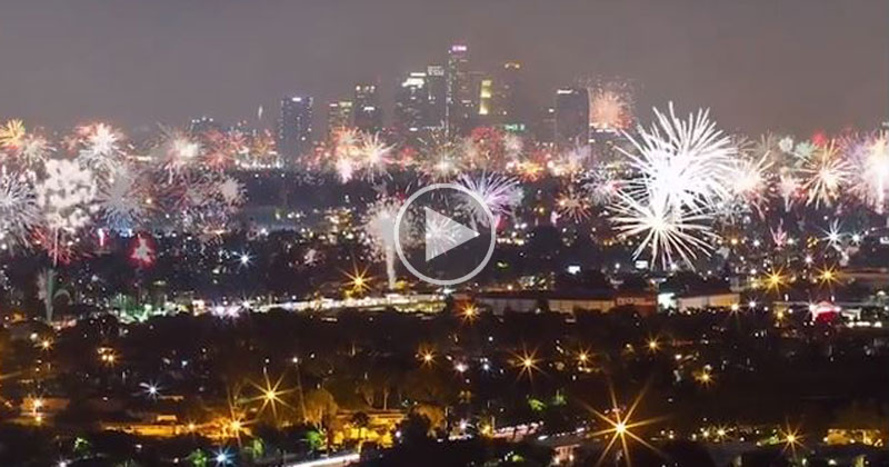 Timelapse of 4th of July Fireworks Over Los Angeles
