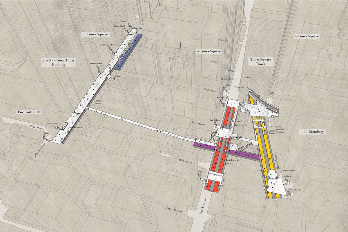 02 times square X Ray Maps of New York Subway Stations