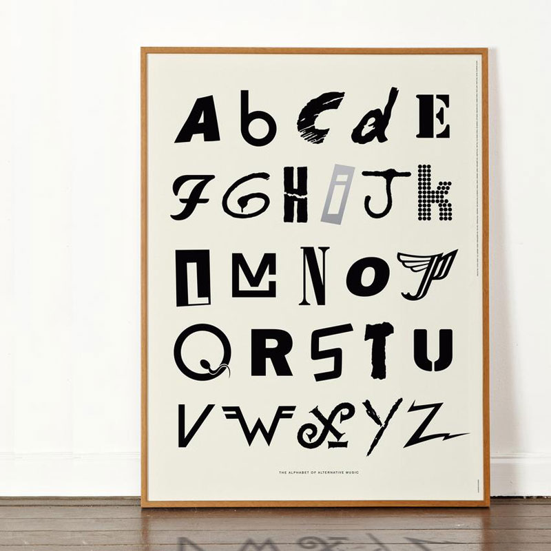 alphabet of alternative music art print dorothy frame 850x Awesome Alphabet Posters Made from Classic and Alternative Rock Band Logos