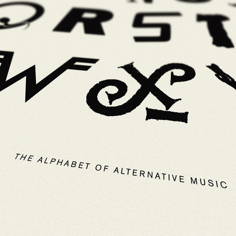 alphabet of alternative music art print dorothy title 850x Awesome Alphabet Posters Made from Classic and Alternative Rock Band Logos