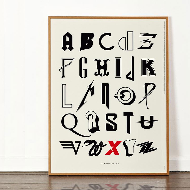 alphabet of rock music art print dorothy frame 850x Awesome Alphabet Posters Made from Classic and Alternative Rock Band Logos