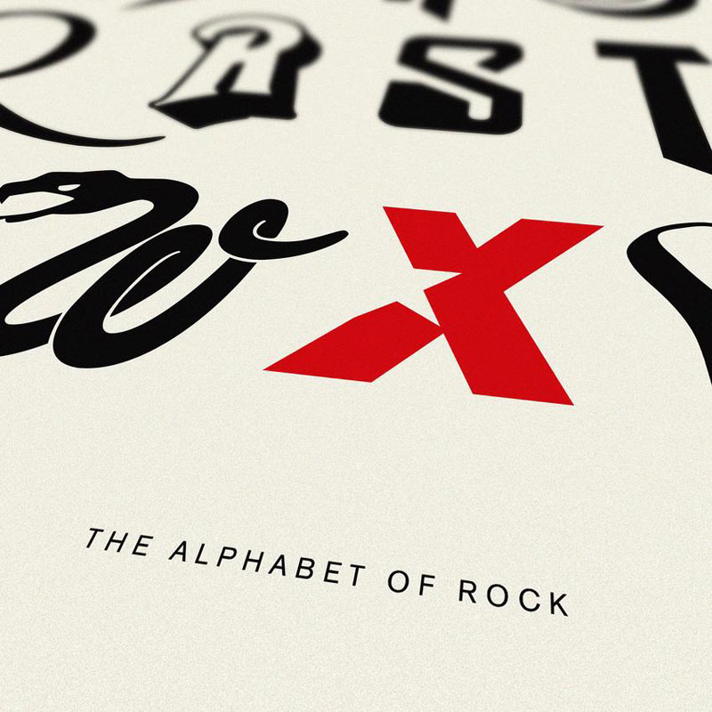 alphabet of rock music art print dorothy title 850x Awesome Alphabet Posters Made from Classic and Alternative Rock Band Logos