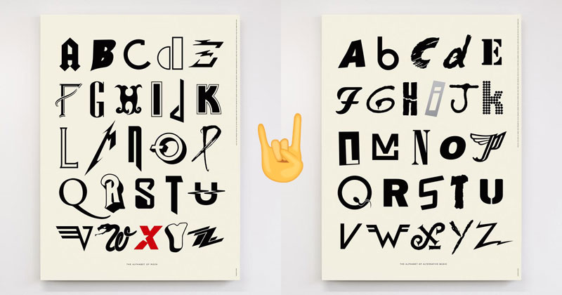 alphabet posters made from classical and alternative rock band logos Awesome Alphabet Posters Made from Classic and Alternative Rock Band Logos