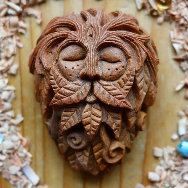 avocado stone faces carved by jan campbell 3 Waste Not, Want Not: Artist Carves Avocado Pits Into Tiny Forest Spirits