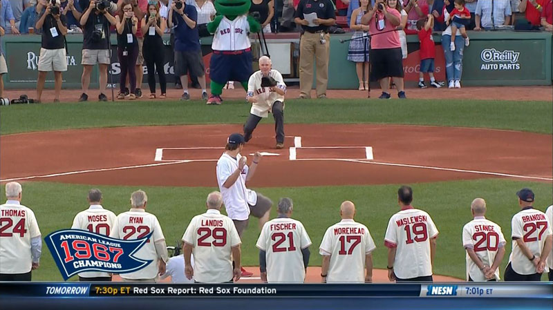 first pitch hits balls boston red sox 2 Ceremonial First Pitch Goes Horribly Wrong