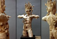 Glitch Wood Carving: Pixelated Snorkeler by Hsu Tung Han